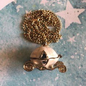 "Vintage Gold Princess Carriage Locket Necklace 28"""